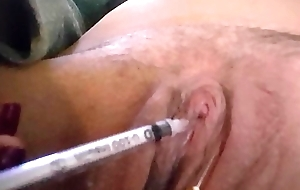 Hurting my sensitive clit with a small needle