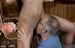 DADDY4K. Angry guy catches old dad fucking his good-looking girl