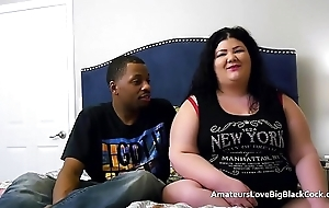 Chunky BBW pounded by two big black cocks