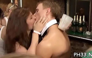 Tons of oral pleasure from blondes and massing group sex at night club