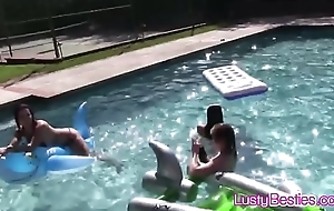Wringing wet teen lesbian foursome pussy eating pool party