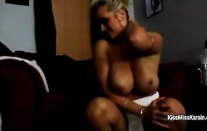 Tori Karsin with enormous boobs is dresses off and fingers cunt