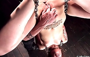 Tattooed redhead pussy fucked with toy