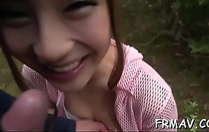 Alluring asian in upskirt receives uncouth jamming