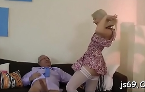 Busty bitch gets into some hardcore fucking with mature chap