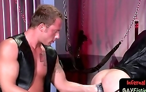 Sexy pleather clad gays get to ass fisting