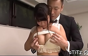 Lovely japanese with beautiful knockers delights with fellatio