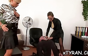 Innocent looking slave made to engulf hard weenie while toyed