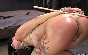 Long haired babe caned and seem to be fucked
