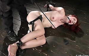 Gagged and bound on the floor whipped