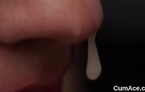 Sexy model gets cum shot on her face sucking all the cream