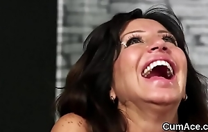 Wicked looker gets cum load on her face gulping all the jism