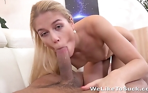Blonde worships BF's hard bulge absolutely not mouth and hands