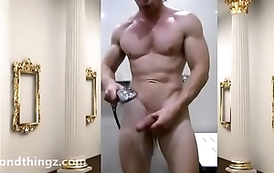 Locker Room Flex Muscular Hung Bodybuilder then showers Nude Zak Rogerz hard cock