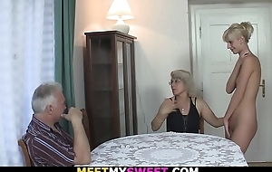 Horny overprotect licks her young pussy then old dad fucks