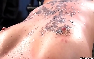 Redhead slut gets waxed and whipped