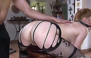 Big ass babe in lingerie anal fucked