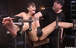 Set on metal bar with all weight on pussy