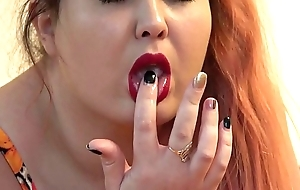 The rubber dick fucked three of my holes, the red-haired fat lassie masturbates on the bounds to anal orgasm.