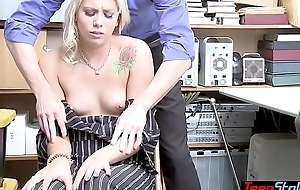 Shy classy thief got caught and now she has in fuck