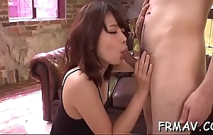 Alluring japanese babe is moaning wildly from toying her cum-hole